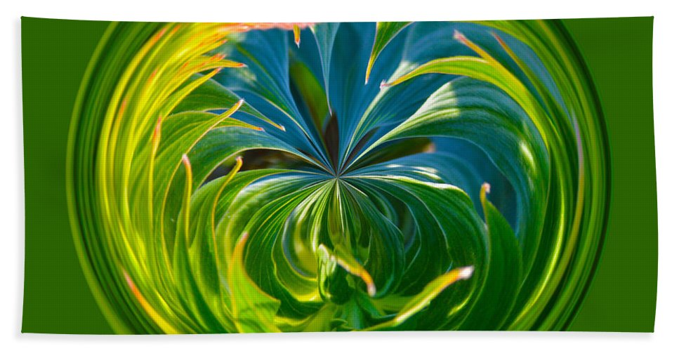 Orb Hand Towel featuring the photograph Green Leaf Orb by Brent Dolliver