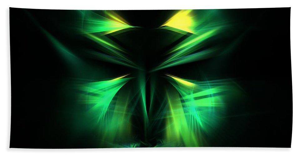 Apophysis Hand Towel featuring the digital art Green Man by Kim Sy Ok