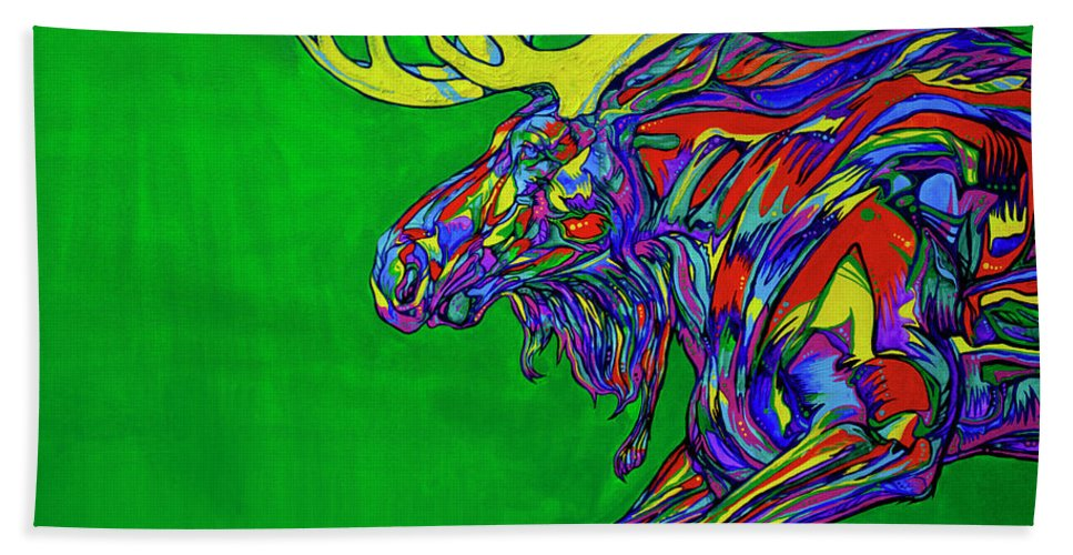 Contemporary Art Hand Towel featuring the painting Green Mega Moose by Derrick Higgins