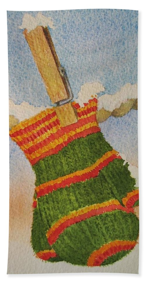 Children Hand Towel featuring the painting Green Mittens by Mary Ellen Mueller Legault