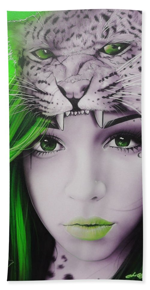 Portrait Hand Towel featuring the painting Green Moon by Christian Chapman Art
