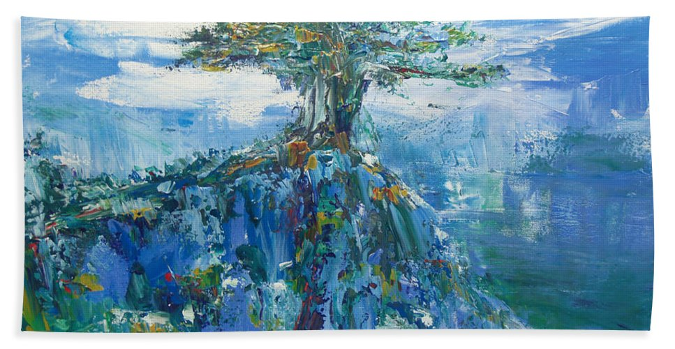 Tree Painting Hand Towel featuring the painting Green Mountain Tree by Christine Cobden