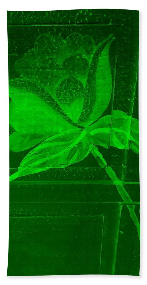 Flowers Bath Towel featuring the photograph Green Negative Wood Flower by Rob Hans