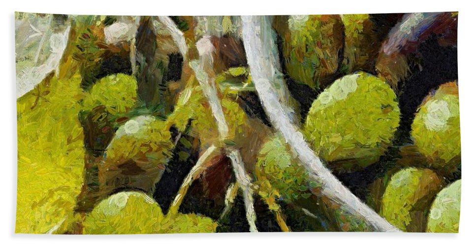 Food And Beverage Hand Towel featuring the painting Green Olives by Dragica Micki Fortuna