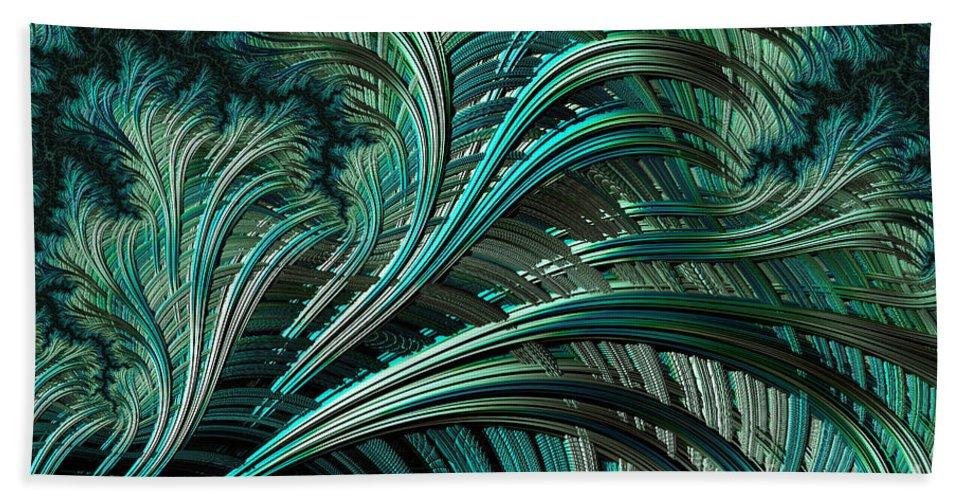 Fractal Hand Towel featuring the digital art Green Palm - A Fractal Abstract by Ann Garrett