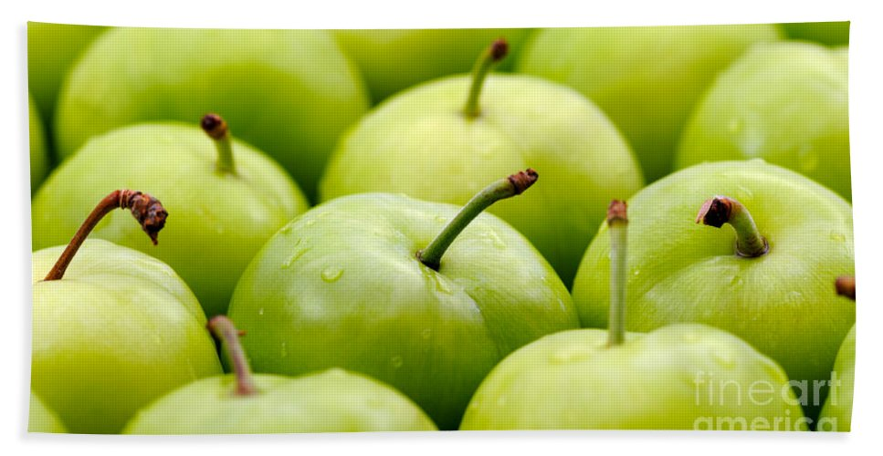 Plum Hand Towel featuring the photograph Green Plums by Grigorios Moraitis