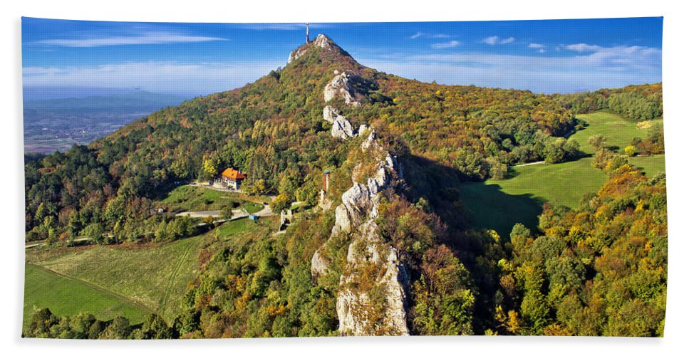 Croatia Hand Towel featuring the photograph Green Scenery Of Kalnik Mountain Ridge by Brch Photography