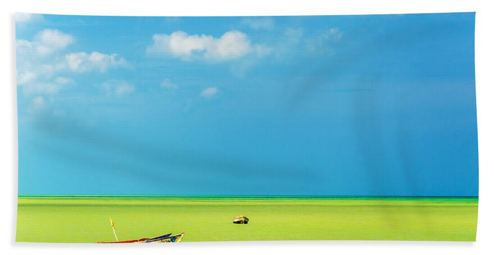 Water Hand Towel featuring the photograph Green Sea And Boats by Jess Kraft