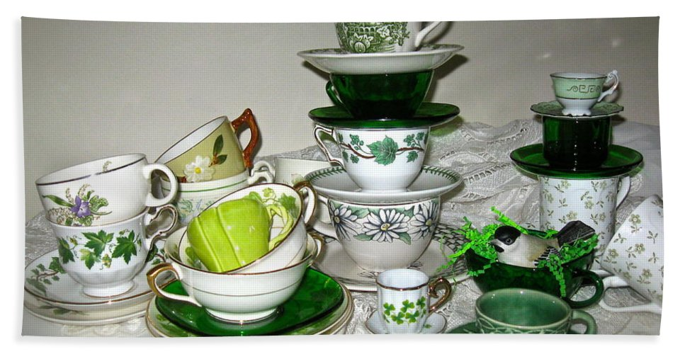 Collection Of Green Teacups Bath Sheet featuring the photograph Green Teacups by Nancy Patterson