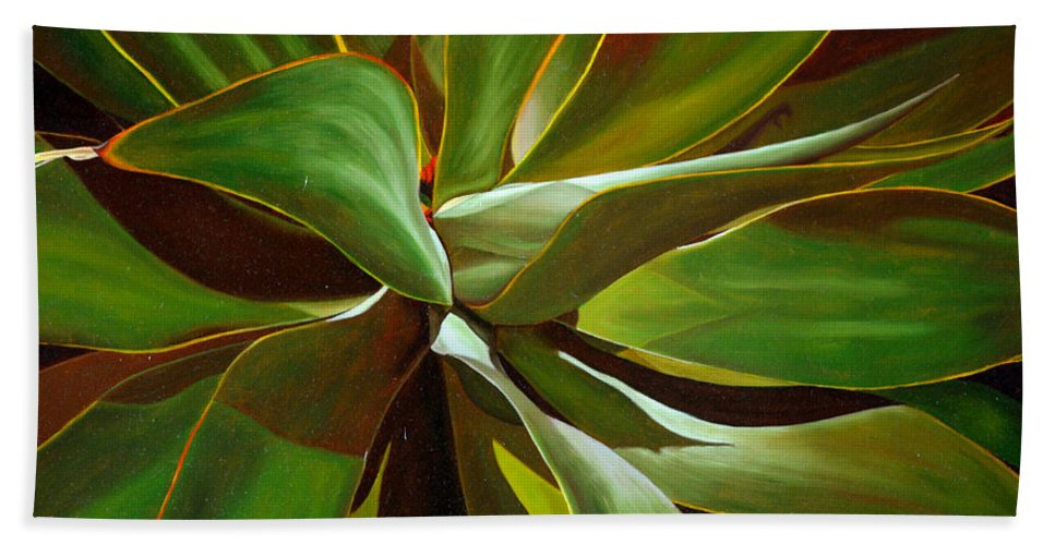 Plant Hand Towel featuring the painting Green by Thu Nguyen