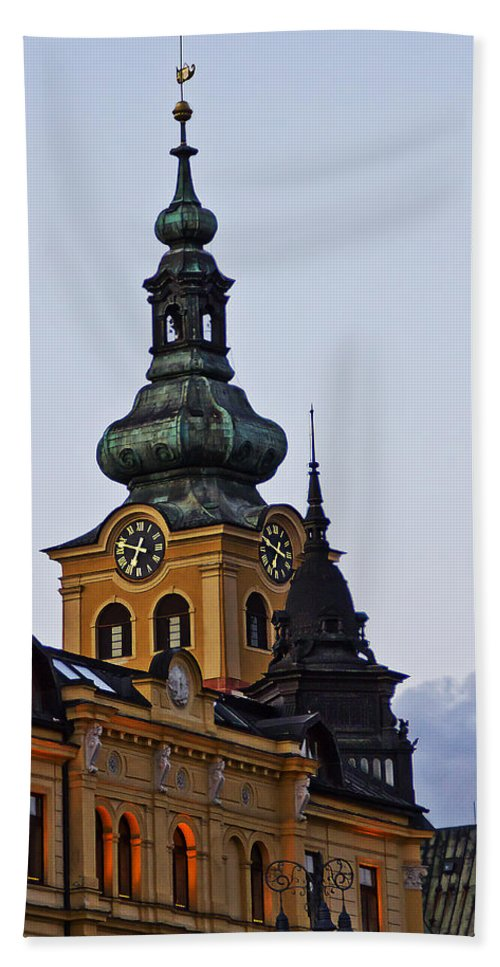 Slovakia Bath Sheet featuring the photograph Green Tower by Alex Art and Photo