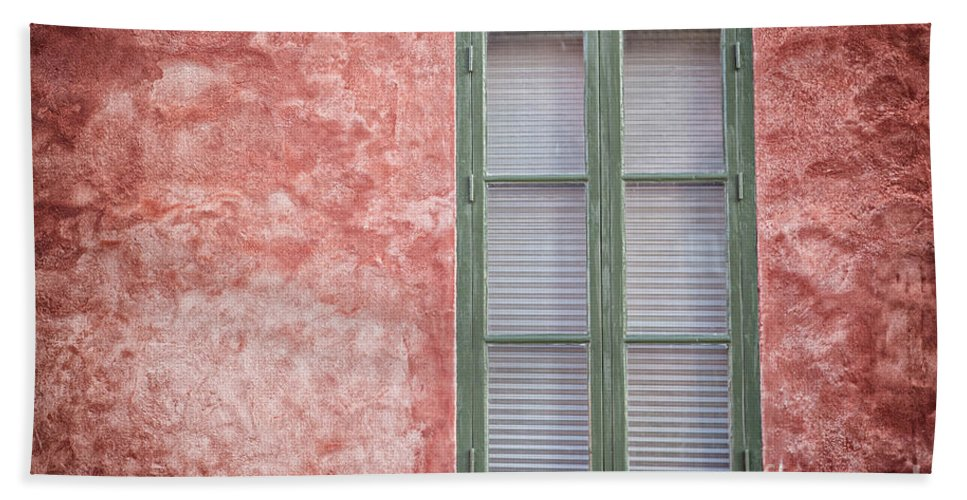 Copyspace Bath Sheet featuring the photograph Green Window On Red Wall. by Sophie McAulay