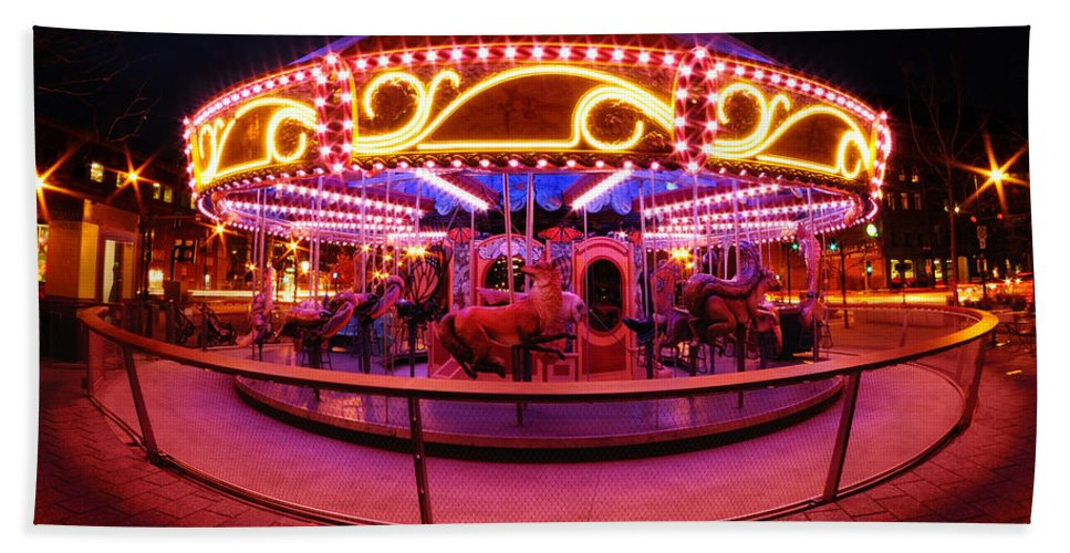Faneuil Hall Hand Towel featuring the photograph Greenway Carousel - Boston by Mark Valentine