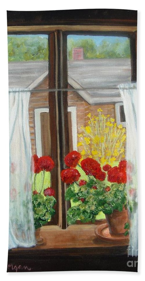 Windows Bath Towel featuring the painting Greet The Day by Laurie Morgan
