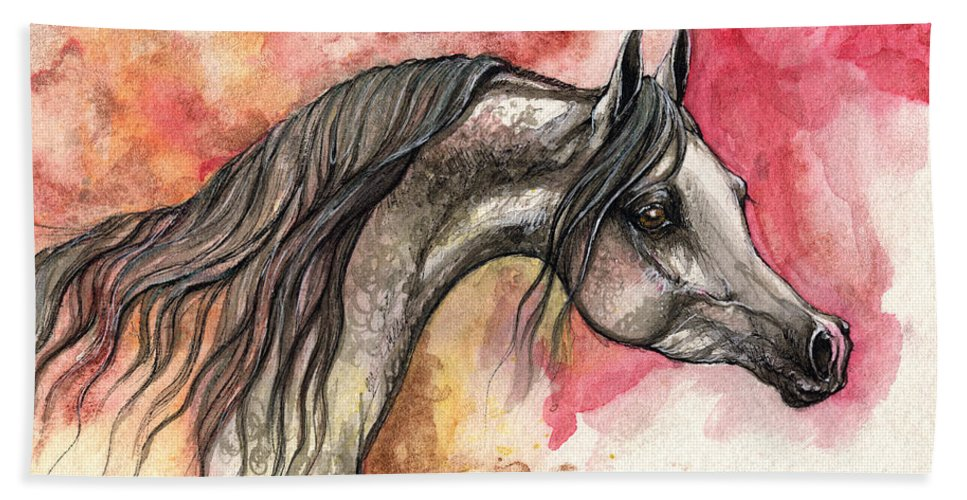Horse Hand Towel featuring the painting Grey Arabian Horse On Red Background 2013 11 17 by Angel Ciesniarska