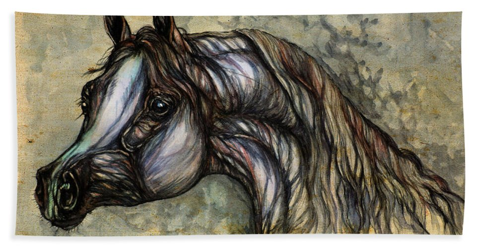 Horse Bath Sheet featuring the painting Grey In The Sepia by Angel Ciesniarska