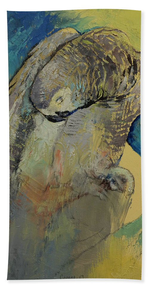 Abstract Bath Sheet featuring the painting Grey Parrot by Michael Creese