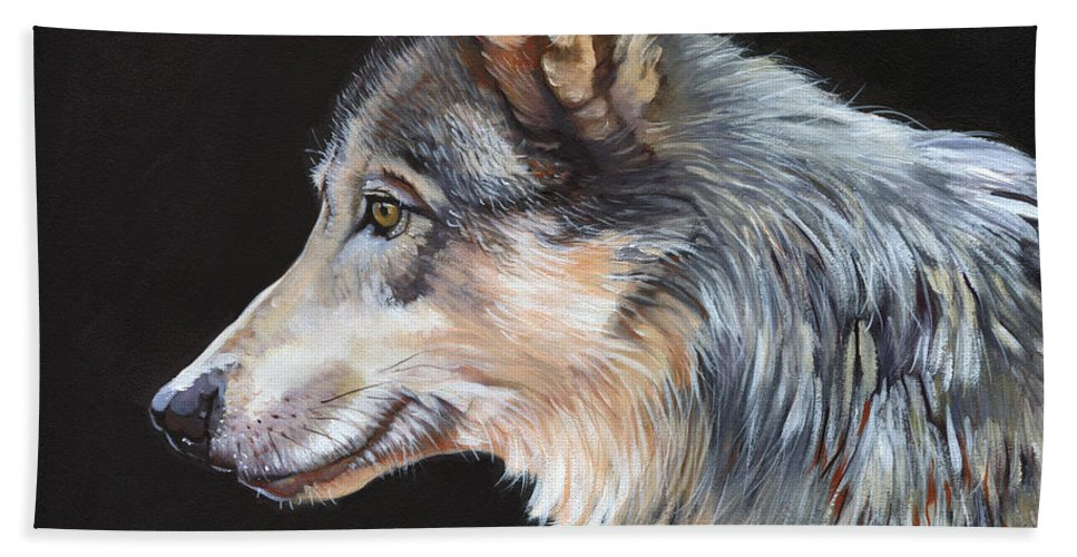 Wolf Hand Towel featuring the painting Grey Wolf by J W Baker