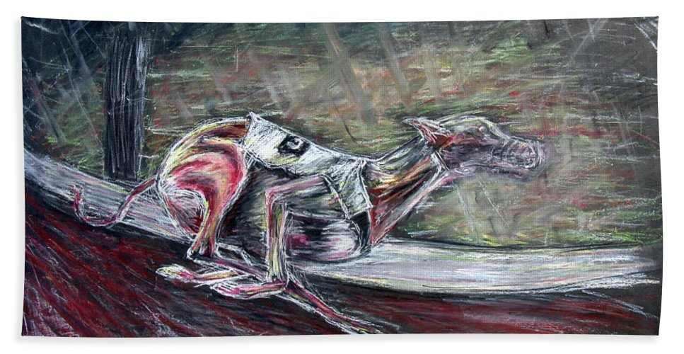 Dog Bath Sheet featuring the drawing Greyhound Number Three by Tom Conway