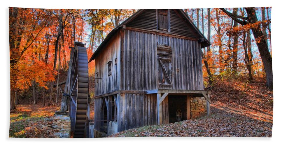 Grist Mill Bath Sheet featuring the photograph Grist Mill Under Fall Foliage by Adam Jewell