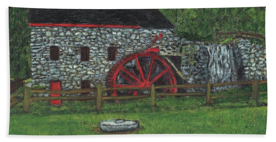 Landscape Bath Sheet featuring the painting Grist Mill At Wayside Inn by Cliff Wilson