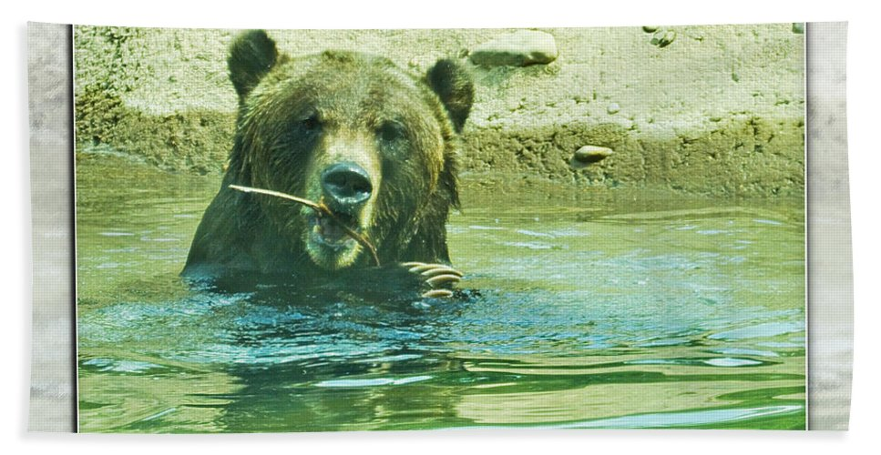 Grizzly Bear Bath Sheet featuring the photograph Grizzly Bath by Walter Herrit