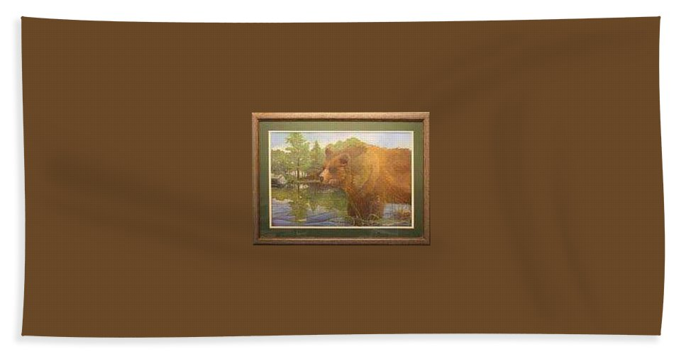 Rick Huotari Bath Sheet featuring the painting Grizzly by Rick Huotari