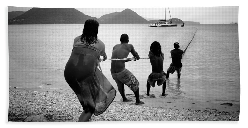 Saint Lucia Bath Sheet featuring the photograph Gros Islet Fishermen by Ferry Zievinger