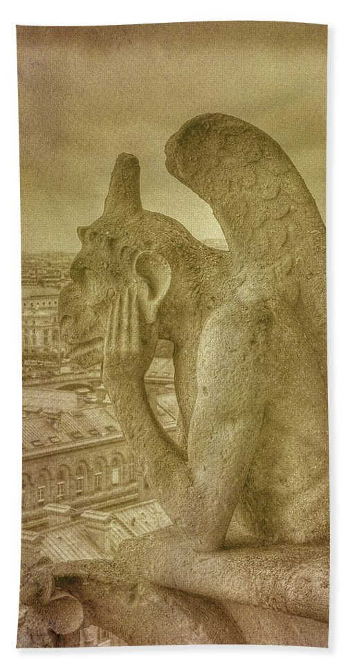 Paris Notre Dame Gargoyle Grotesque Bath Sheet featuring the photograph Grotesque From Notre Dame by Michael Kirk