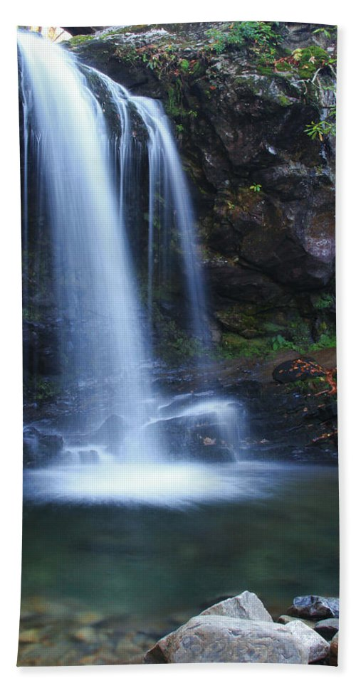 Waterfall Hand Towel featuring the photograph Grotto Falls Great Smoky Mountains by Shari Jardina