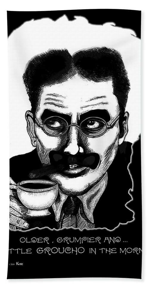 Marx Brothers Bath Sheet featuring the mixed media Groucho In The Morning by Christopher Korte