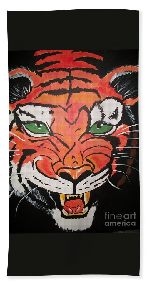 Tiger Hand Towel featuring the painting Growling Tiger by Sherry Cordle