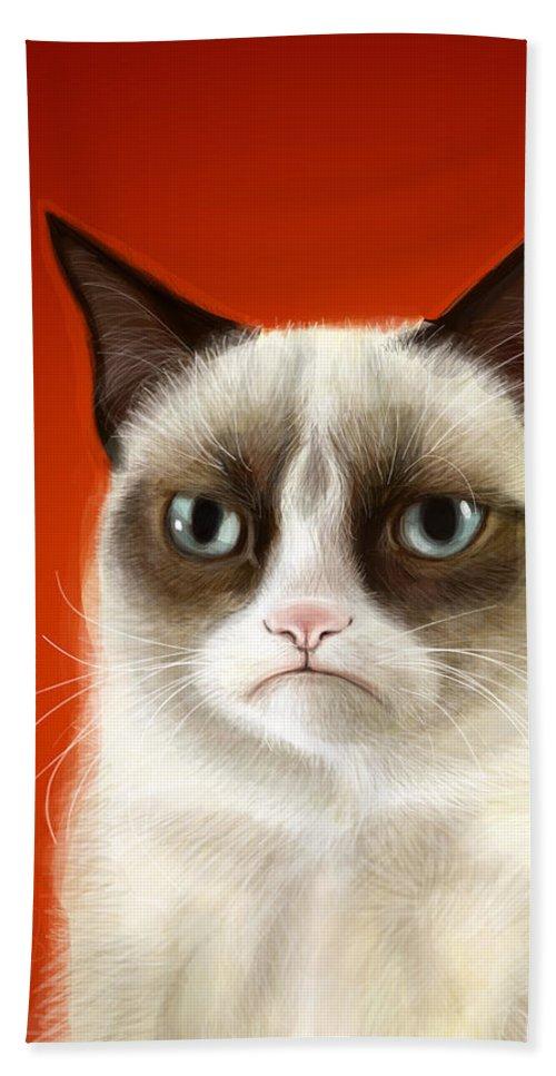 Grumpy Bath Towel featuring the digital art Grumpy Cat by Olga Shvartsur