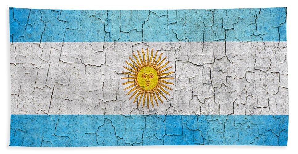 Aged Bath Sheet featuring the digital art Grunge Argentina Flag by Steve Ball