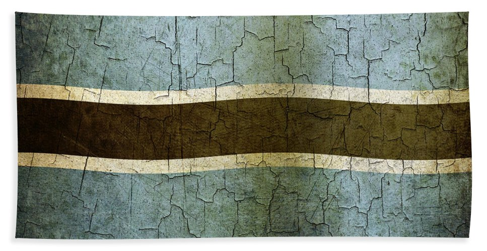 Aged Bath Sheet featuring the digital art Grunge Botswana Flag by Steve Ball