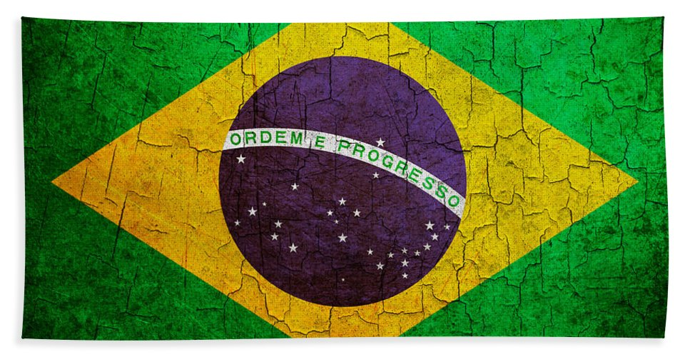 Aged Bath Sheet featuring the digital art Grunge Brazil Flag by Steve Ball