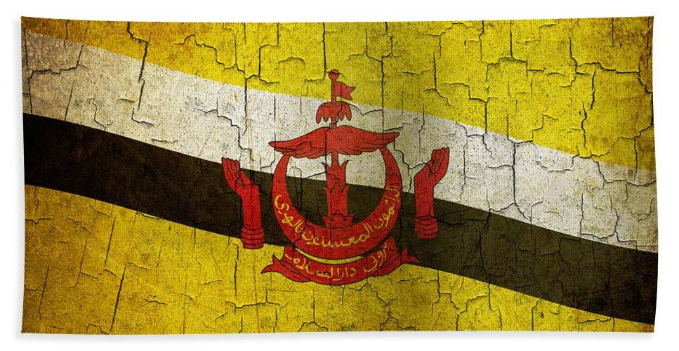 Aged Bath Sheet featuring the digital art Grunge Brunei Flag by Steve Ball