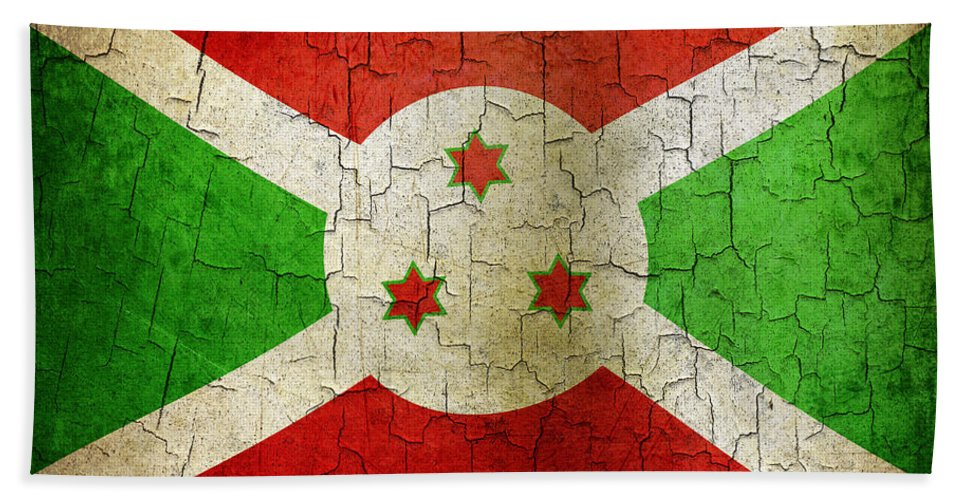 Aged Bath Sheet featuring the digital art Grunge Burundi Flag by Steve Ball