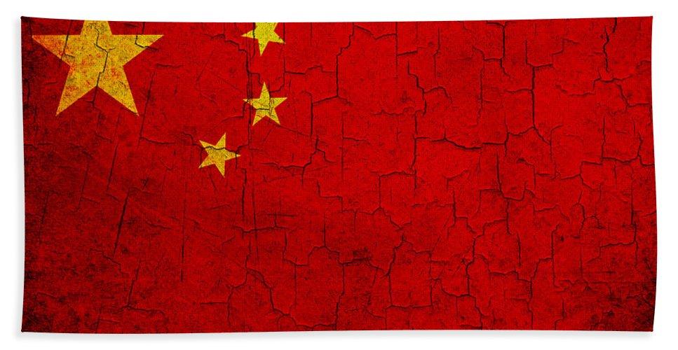 Aged Bath Sheet featuring the digital art Grunge China Flag by Steve Ball