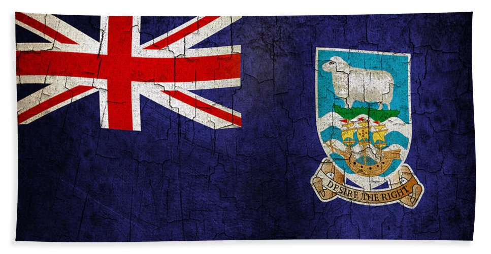 Aged Bath Sheet featuring the digital art Grunge Falkland Islands Flag by Steve Ball