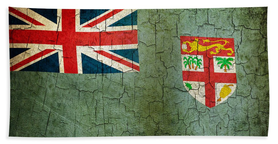 Aged Bath Sheet featuring the digital art Grunge Fiji Flag by Steve Ball