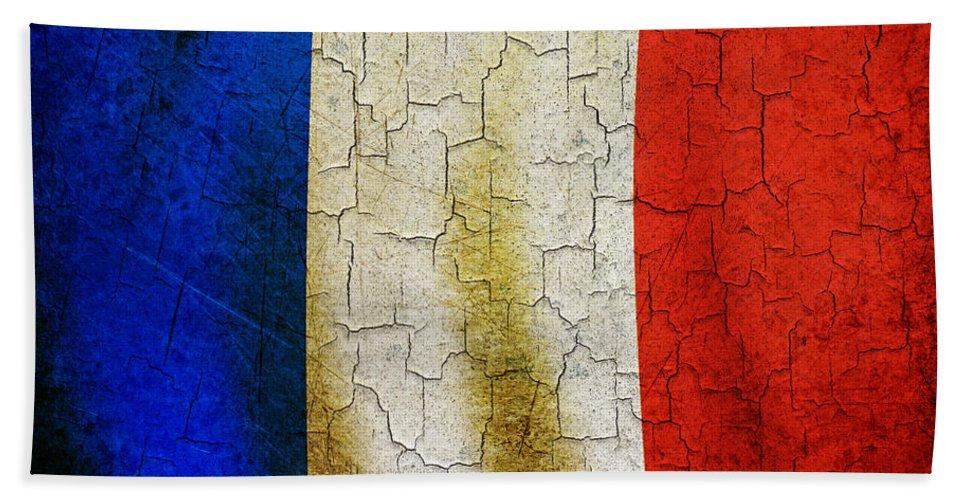 Aged Bath Sheet featuring the digital art Grunge France Flag by Steve Ball