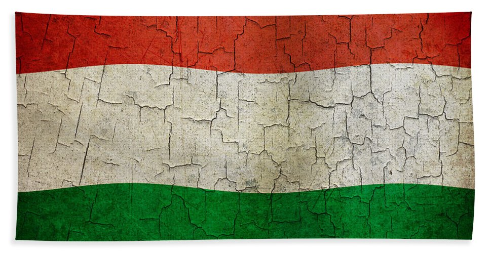 Aged Bath Sheet featuring the digital art Grunge Hungary Flag by Steve Ball