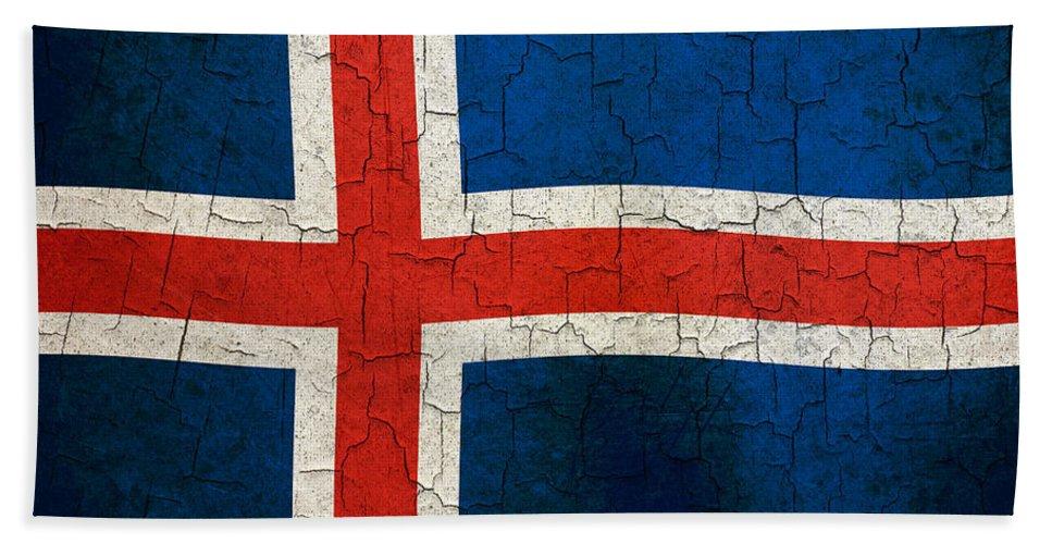 Aged Bath Sheet featuring the digital art Grunge Iceland Flag by Steve Ball