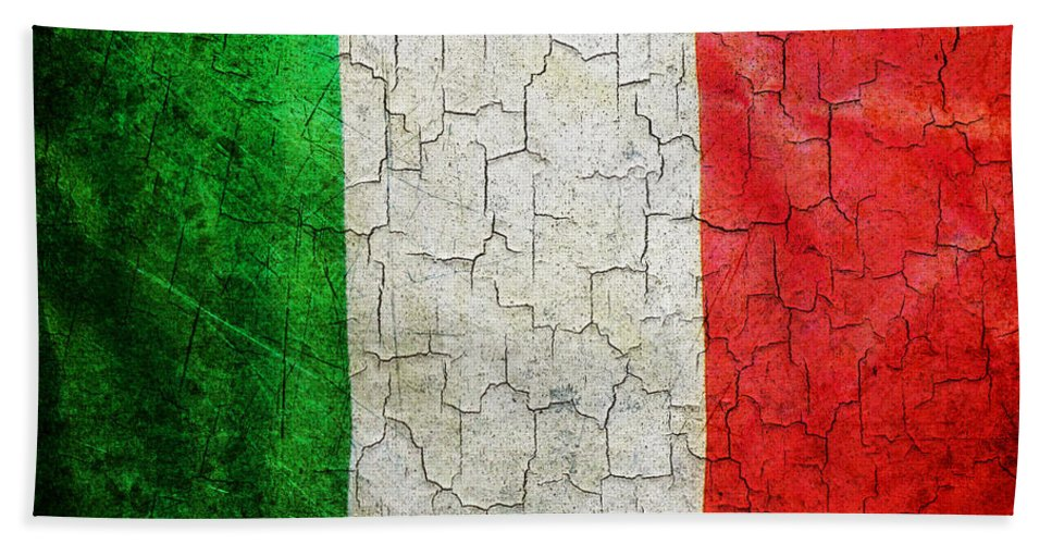 Aged Bath Sheet featuring the digital art Grunge Italy Flag by Steve Ball