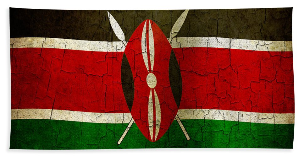 Aged Bath Sheet featuring the digital art Grunge Kenya Flag by Steve Ball