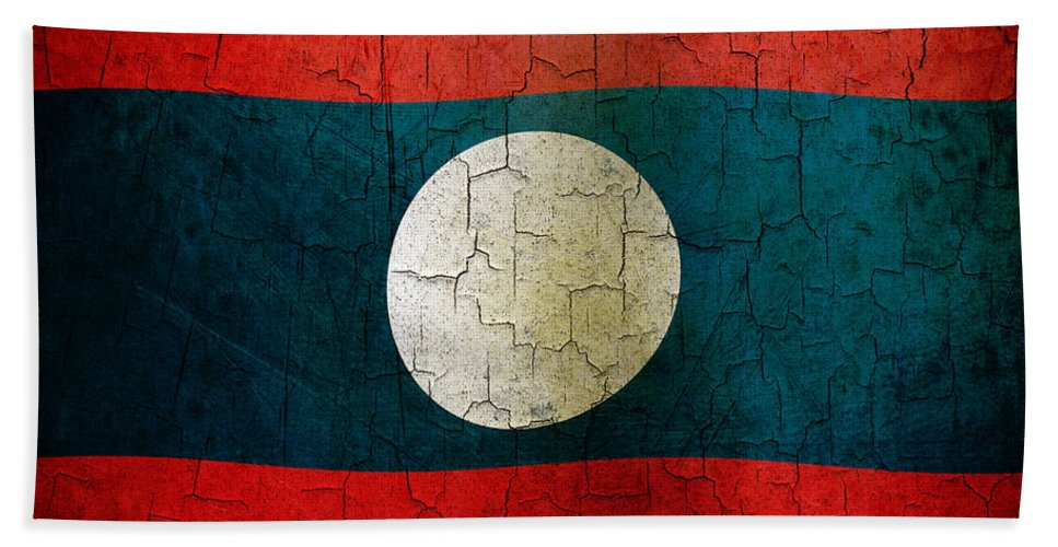 Aged Bath Sheet featuring the digital art Grunge Laos Flag by Steve Ball