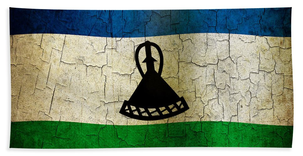 Aged Bath Sheet featuring the digital art Grunge Lesotho Flag by Steve Ball