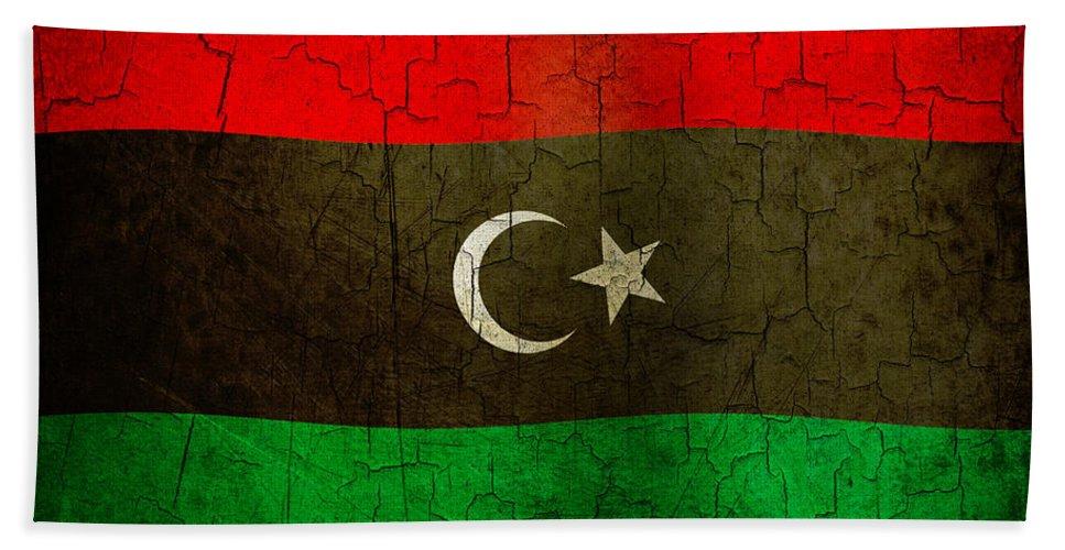 Aged Bath Sheet featuring the digital art Grunge Libya Flag by Steve Ball