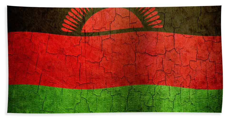 Aged Bath Sheet featuring the digital art Grunge Malawi Flag by Steve Ball